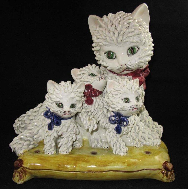 Vintage Italian Ceramic Spaghetti Cat Sculpture