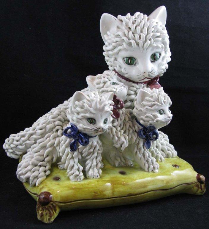 Vintage Italian Ceramic Spaghetti Cat Sculpture - 3