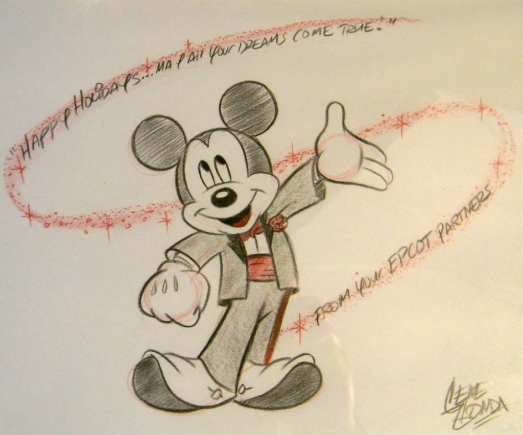 Mickey Mouse Cast Member Epcot Drawing by Gene Gonda - 2