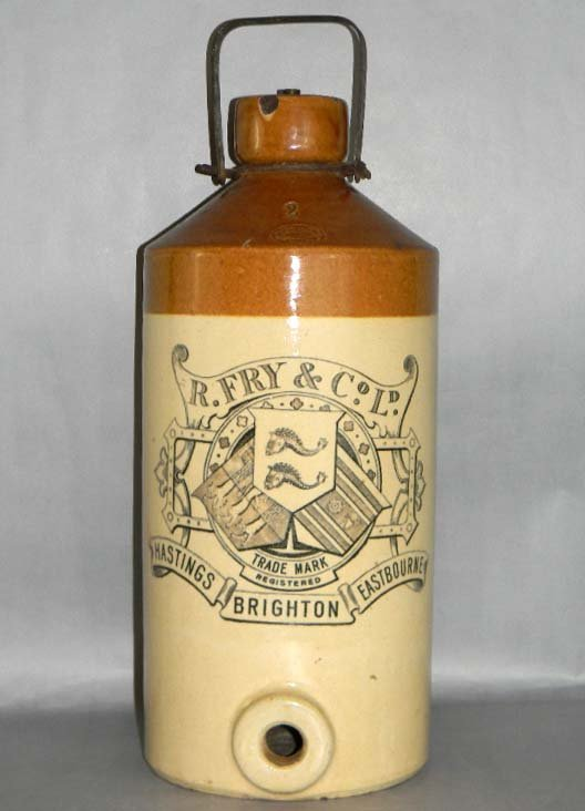 2 GAL STONEWARE BEER FLASK DOULTON R. FRY & CO.