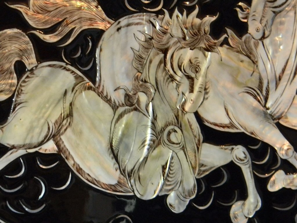 4 CHINESE LACQUER MOTHER OF PEARL HORSE PANELS - 2