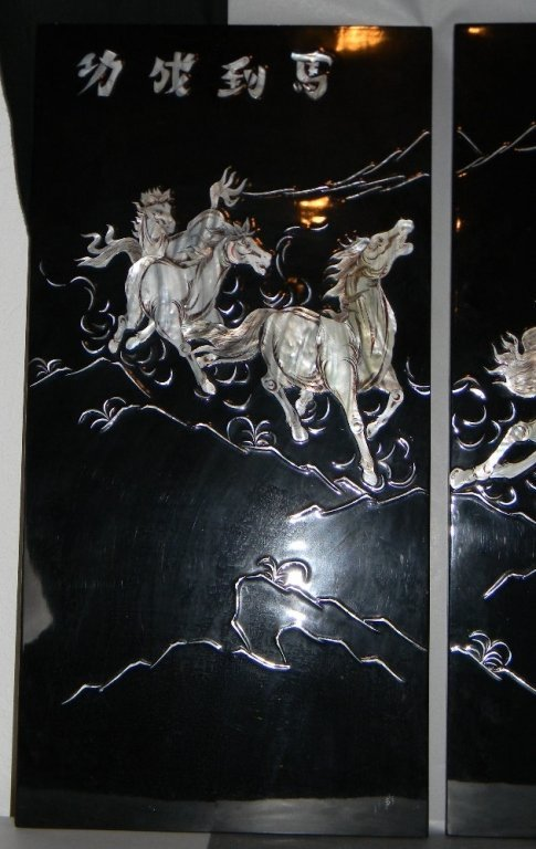 4 CHINESE LACQUER MOTHER OF PEARL HORSE PANELS - 3