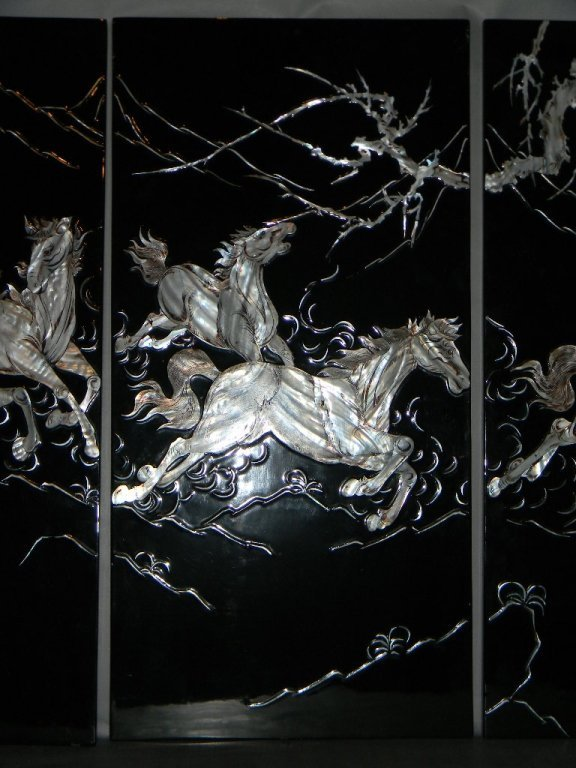 4 CHINESE LACQUER MOTHER OF PEARL HORSE PANELS - 5