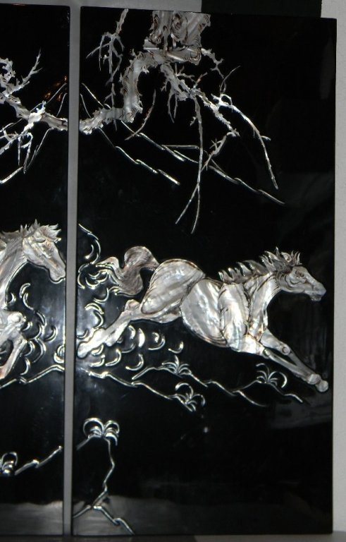 4 CHINESE LACQUER MOTHER OF PEARL HORSE PANELS - 6
