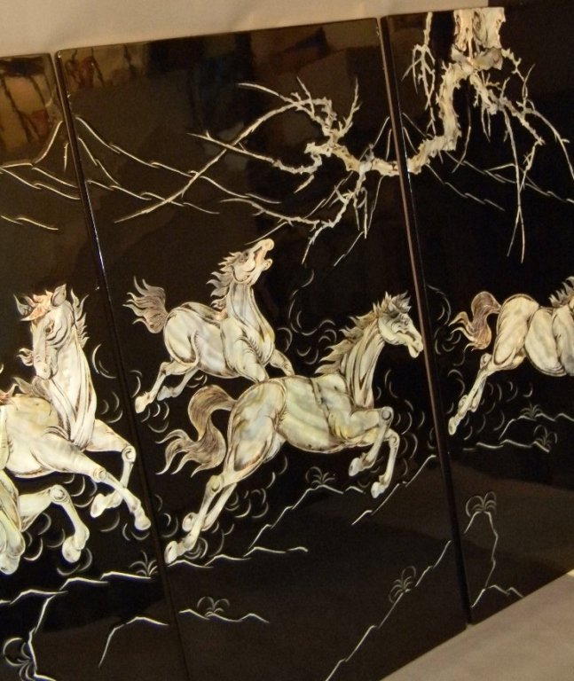 4 CHINESE LACQUER MOTHER OF PEARL HORSE PANELS - 8