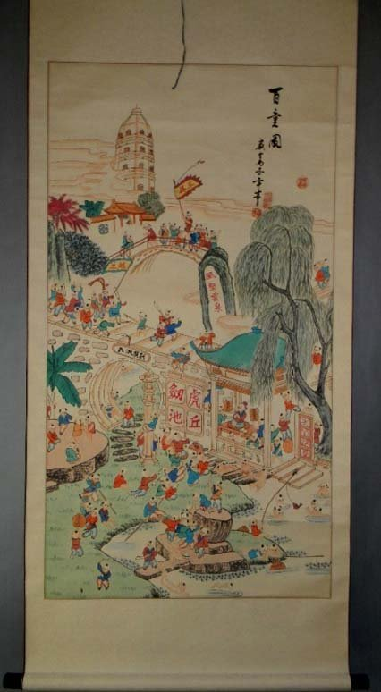 CHINESE INK AND WATERCOLOR HANGING SCROLL