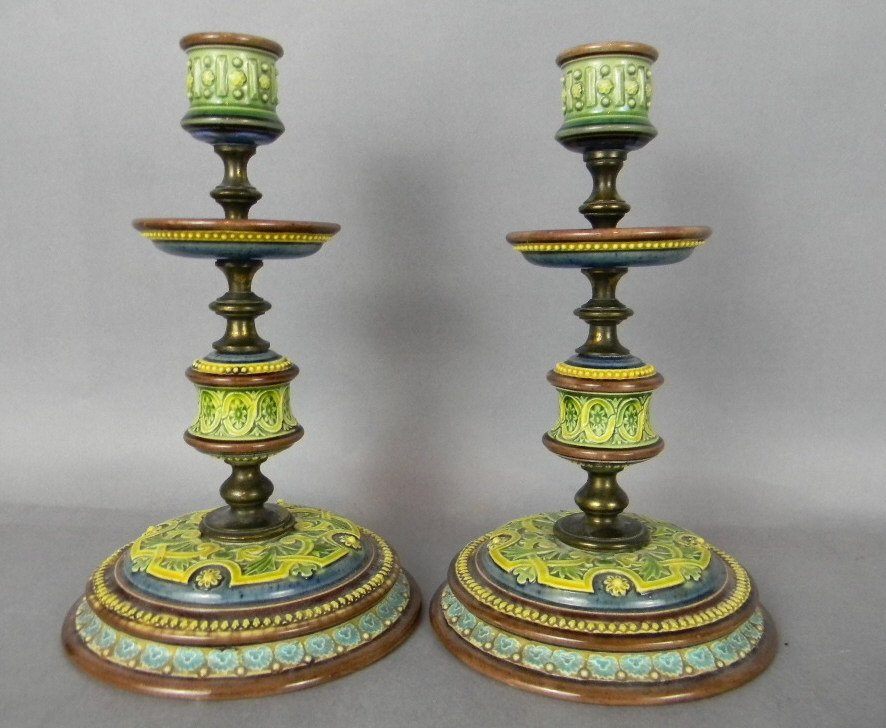MATCHED PAIR OF 1887 DOULTON LAMBETH CANDLE STICKS