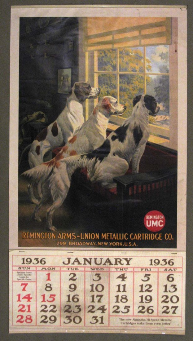 RARE 1936 REMINGTON ARMS UMC ADVERTISING CALENDAR