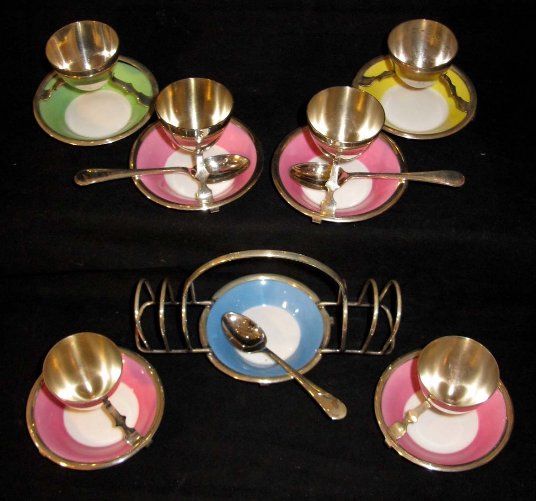 ROYAL DOULTON EGG CUPS AND TOAST HOLDER for HARROD'S