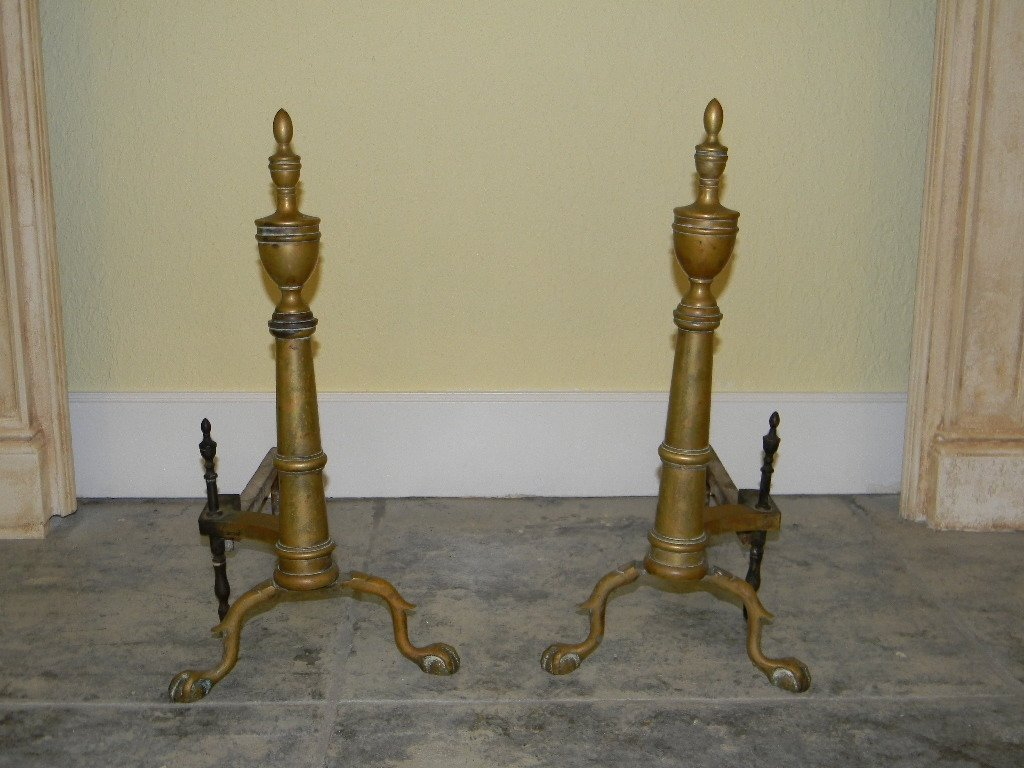 PAIR OF 19TH C BRASS ANDIRONS WITH URN FINIALS