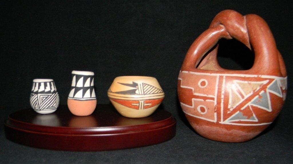 4 HOPI & ACOMA SIGNED POTS: MUTZ & CHINO