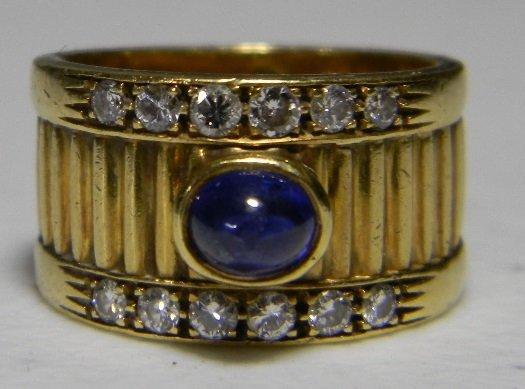 SIGNED GUCCI 18K GOLD SAPPHIRE DIAMOND RING