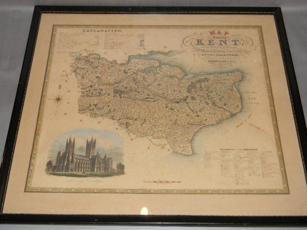 1829 MAP OF KENT ENGLAND HAND COLORED ENGRAVING