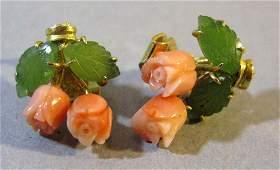 VINTAGE PINK CORAL AND JADE FLOWER FORM EARRINGS