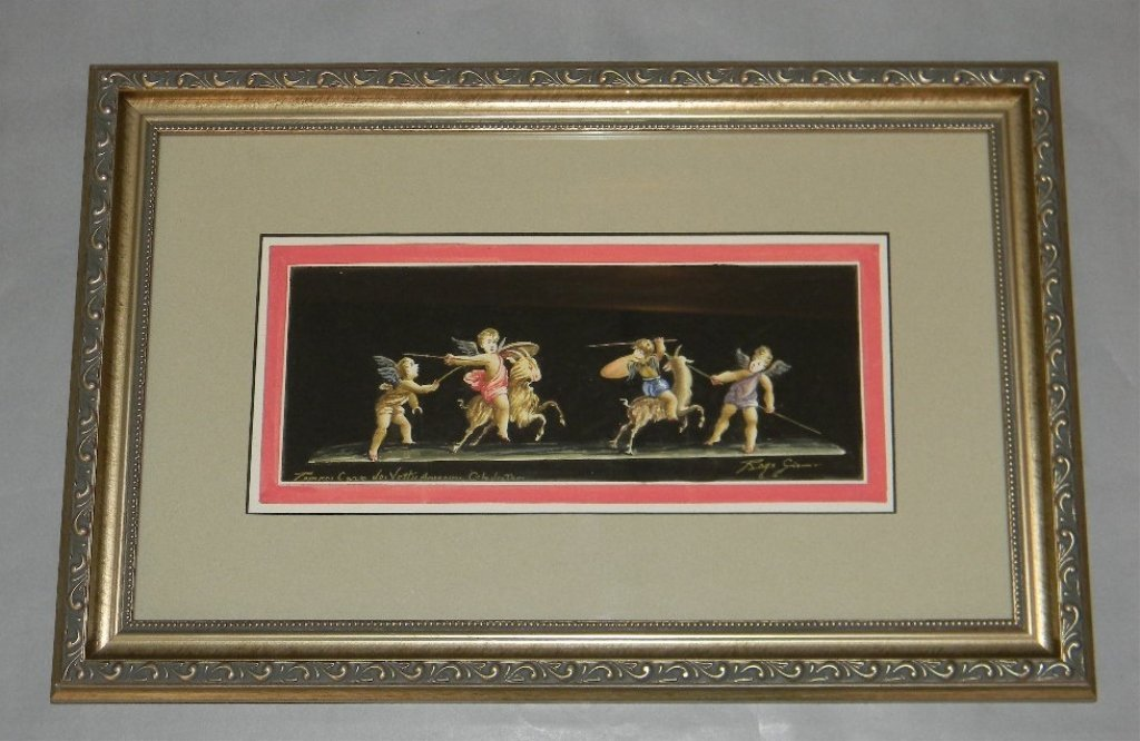 19TH RAGO GIOVANNI ITALY PAINTING PUTTI IN POMPEII