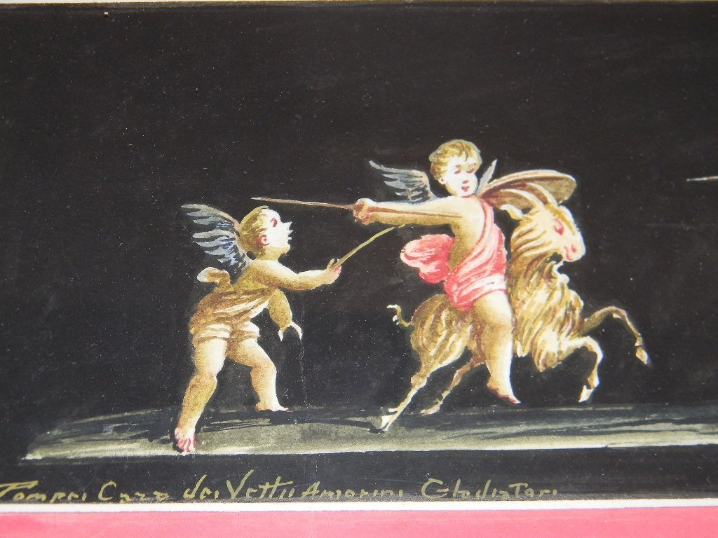 19TH RAGO GIOVANNI ITALY PAINTING PUTTI IN POMPEII - 5