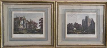 TWO HAND COLORED ENGRAVINGS OF RUINS BY W. BYRNE