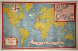 1948 AIR FRANCE STONE LITHOGRAPH AERIEN POSTAL MAP
