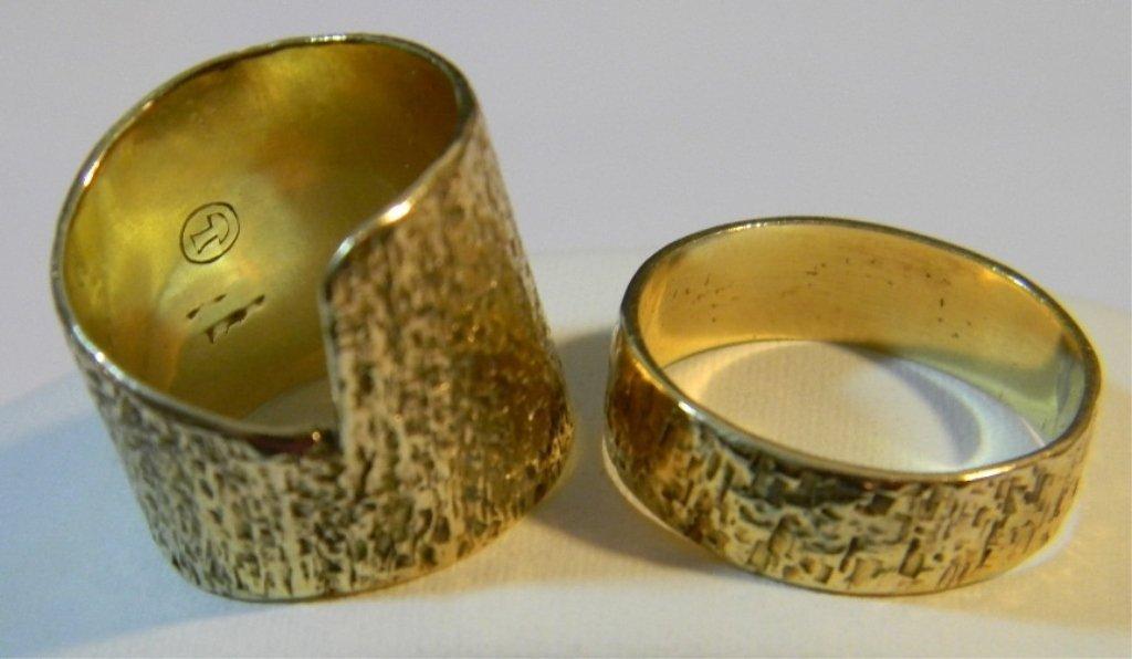 2 MODERNIST SAM KRAMER 14K GOLD CIGAR BAND RINGS