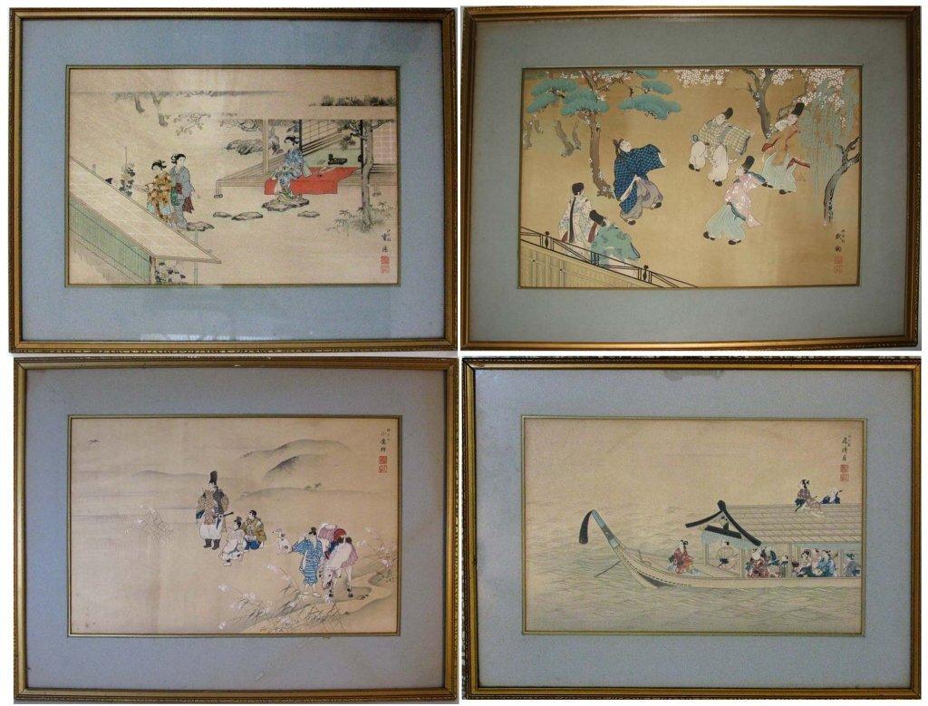 4 JAPANESE WOODBLOCK PRINTS: TAKESHITA KIN-U