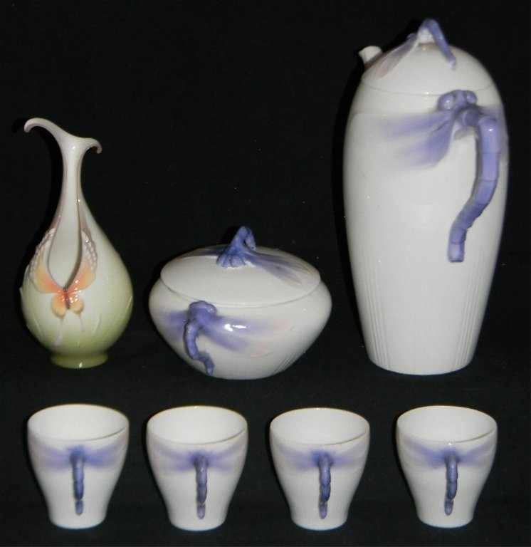RORSTRAND DRAGONFLY PORCELAIN COFFEE POT & CUPS