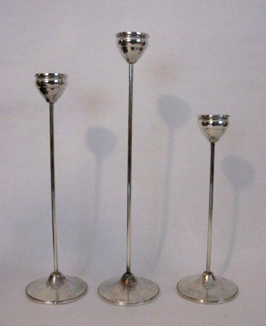 THREE DUCHIN WEIGHTED STERLING CANDLESTICKS