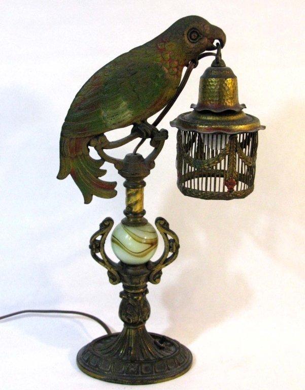 ART DECO FIGURAL PARROT LAMP W SLAG GLASS MARBLE