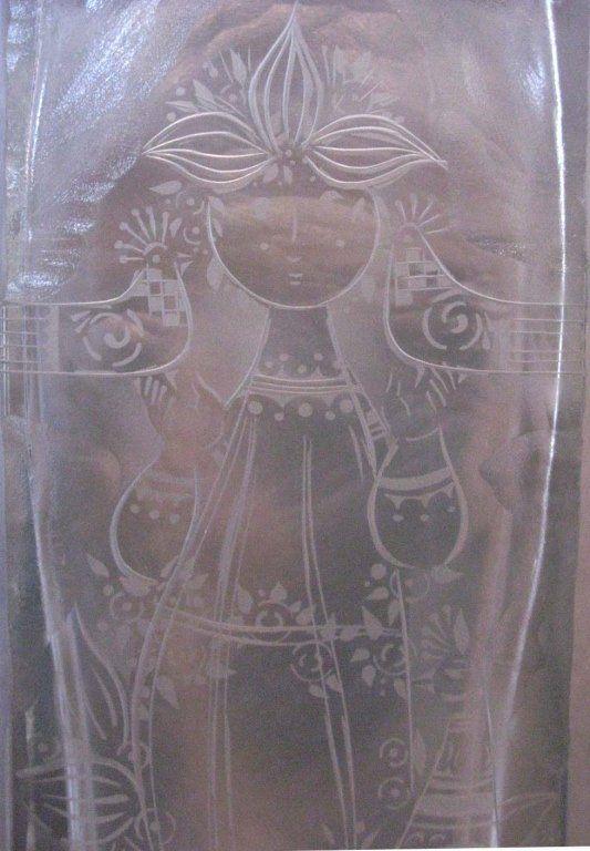 BJORN WIINBLAD ETCHED GLASS VASE FOR ROSENTHAL