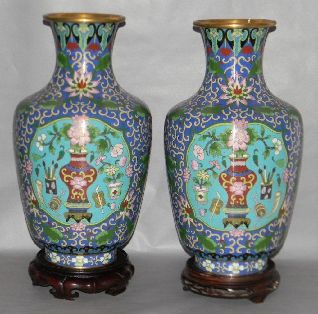 """PAIR OF TALL CHINESE CLOISONNE VASES 15.5""""h"""
