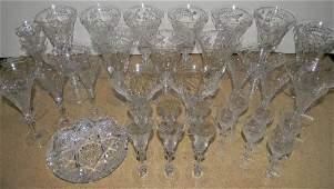 25 HAWKES, GLASTONBURY LOTUS CUT GLASS & CRYSTAL STEMS