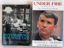 2 SIGNED BOOK 1ST ED OLIVER NORTH & WILLM. BUCKLEY