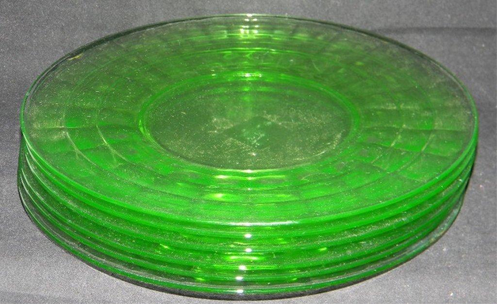 6 ANCHOR HOCKING APPLE GREEN VASELINE GLASS PLATES