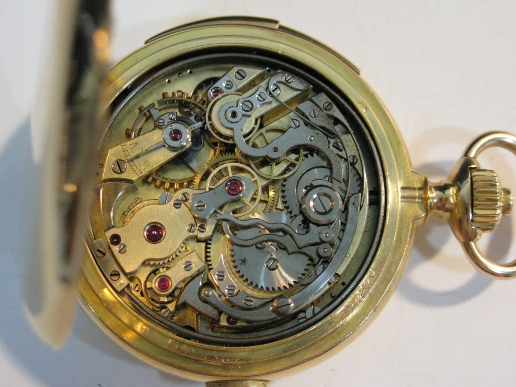 LECOULTRE REPEATER POCKET WATCH 18K GOLD CASE - 4