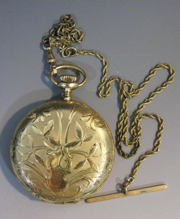 WALTHAM 14K GOLD HUNTING CASE POCKET WATCH & CHAIN