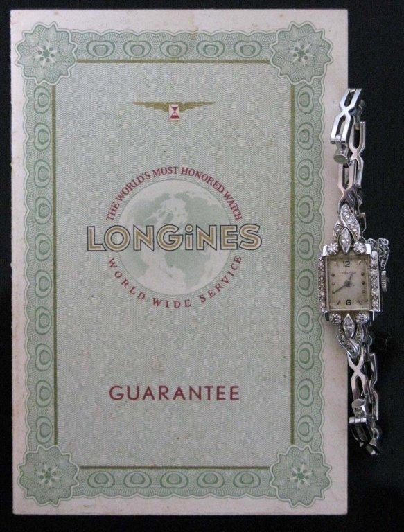LONGINES 14K WHITE GOLD AND DIAMOND WRIST WATCH c.1958