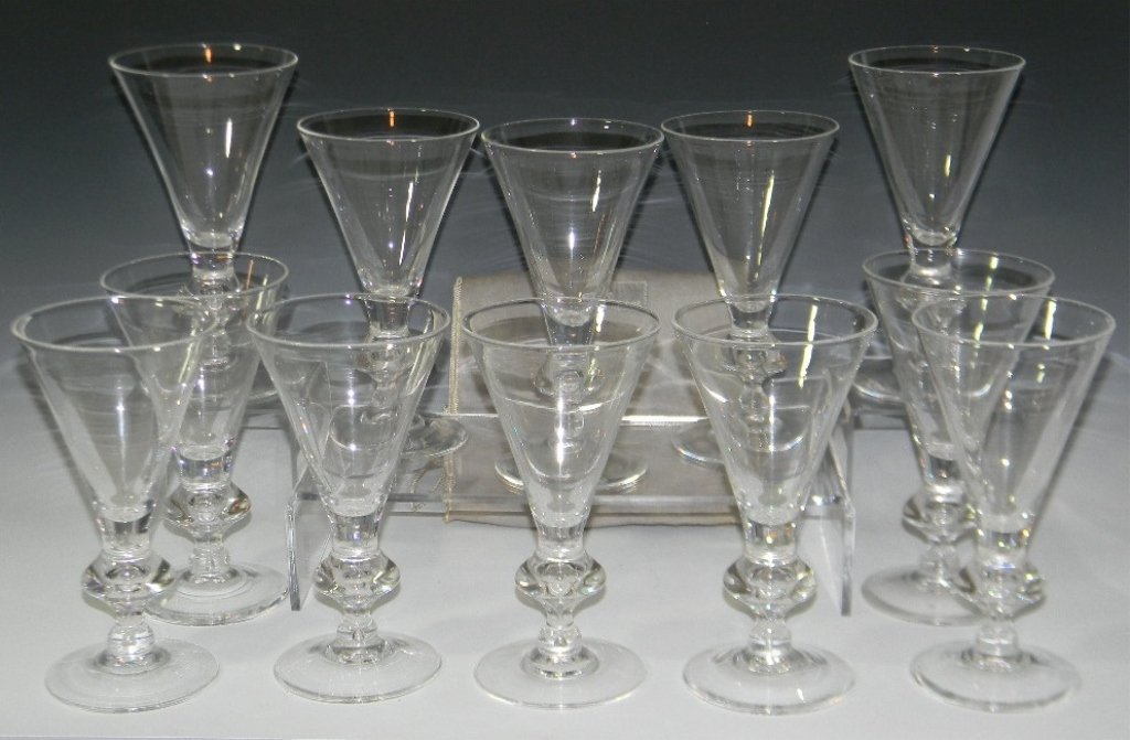 steuben glass trumpet shaped water goblets