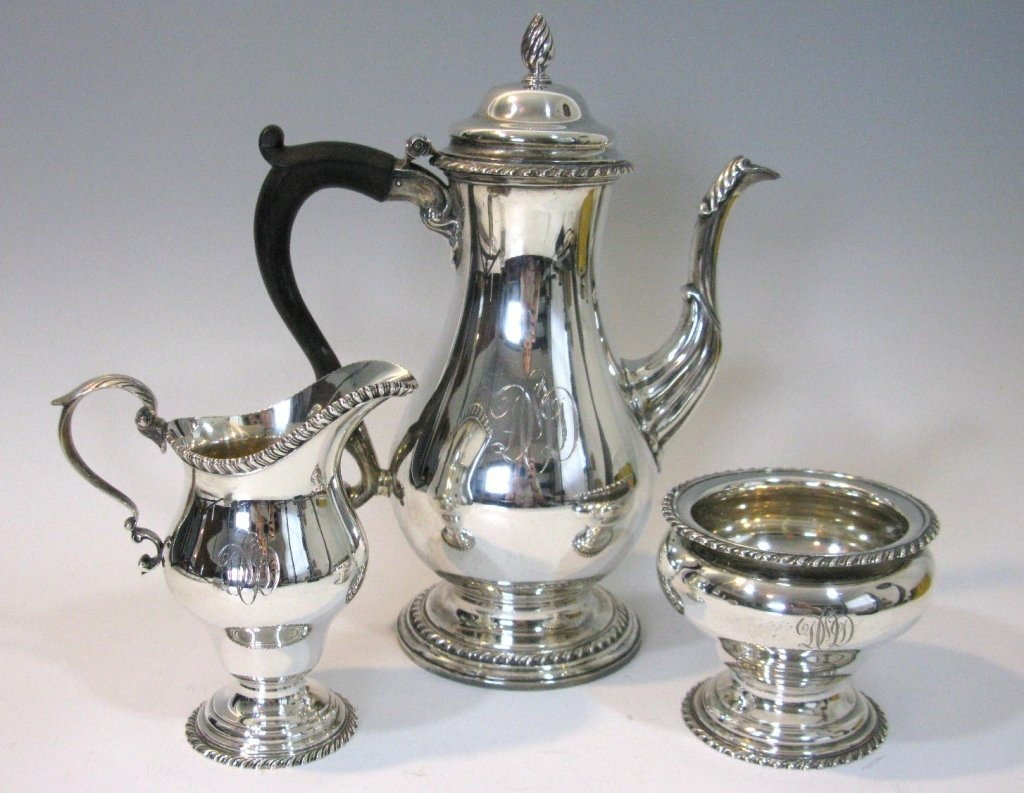 3 PC STERLING SILVER COFFEE SERVICE 42.49 ozt