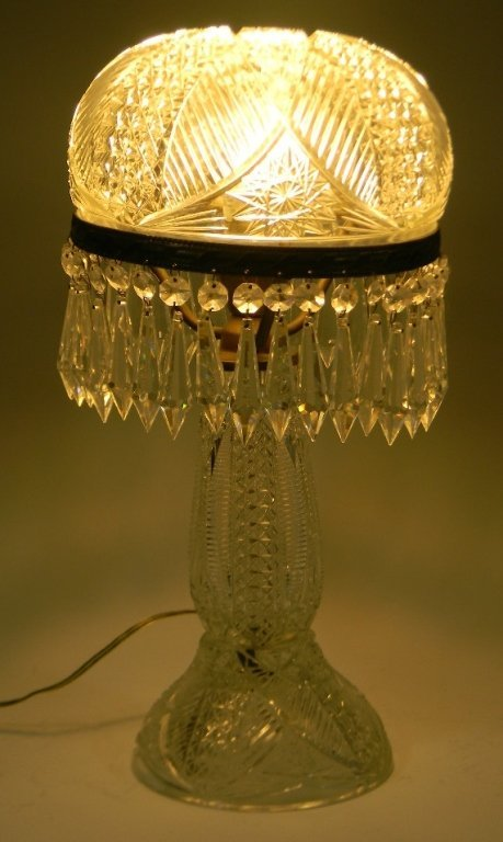 BOHEMIAN CUT GLASS LAMP WITH PRISMS