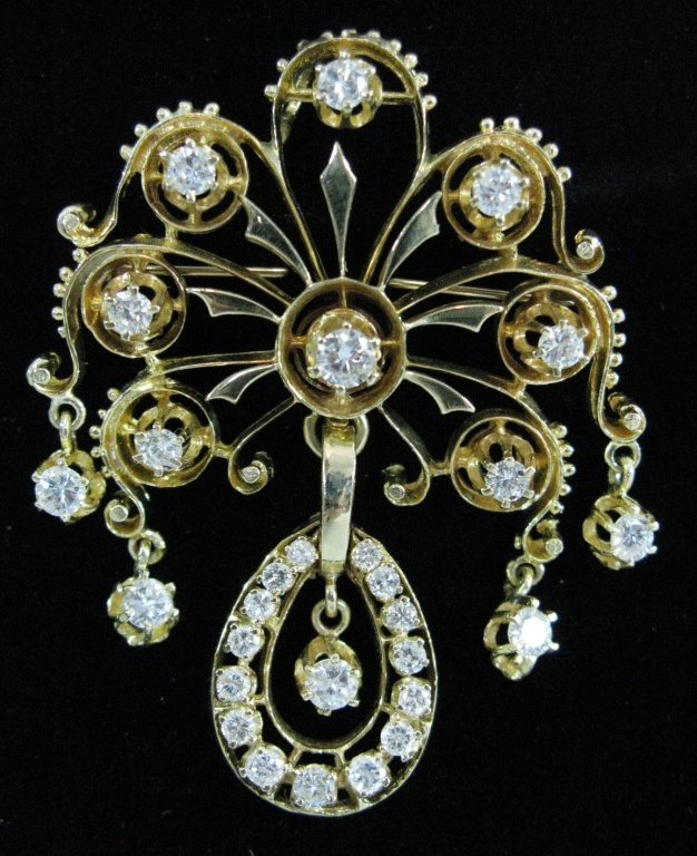 EXTREMELY FINE 14K GOLD AND DIAMOND PENDANT BROOCH