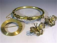 ANTIQUE 14K GOLD CUFF BRACELET W/ DIAMONDS & 14k GOLD