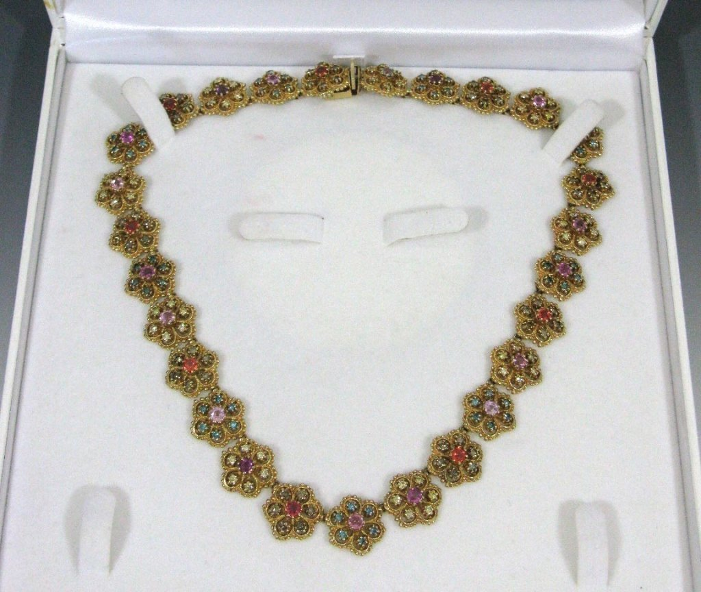 14K GOLD DIAMOND & SAPPHIRE NECKLACE 13.91 CARATS