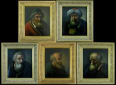 5 OIL ON COPPER OLD MASTER PANELS OF PROPHETS