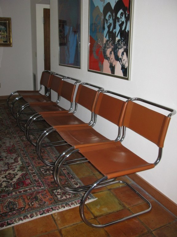 SET OF 6 ITALIAN LEATHER DINING CHAIRS
