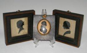 3 @ Antique Cut & Painted Silhouette Portraits