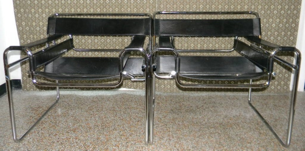 PAIR OF MARCEL BREUER WASSILY CHAIRS ATT. KNOLL