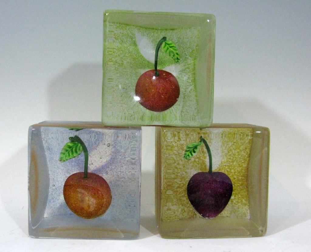3 @ POPELKA TRENCHARD SIGNED ART GLASS CUBES W/ FRUIT