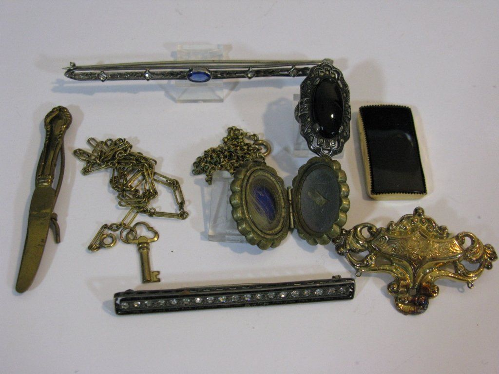 VICTORIAN JEWELRY: 14K GOLD & STERLING