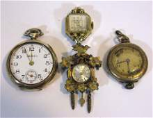 4 @ POCKET, WRIST AND BROOCH WATCHES.