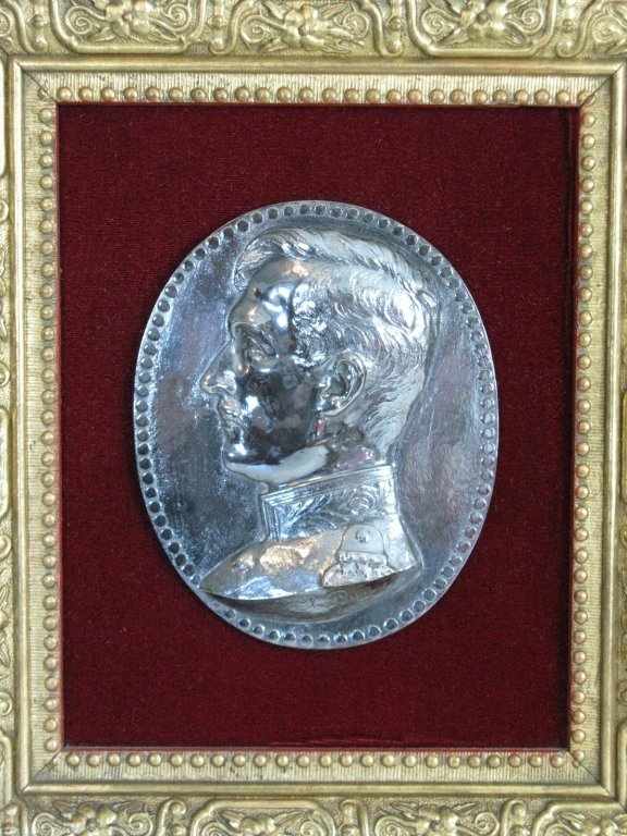 CHARLES PONNET 1916 SILVERED METAL PLAQUE - 2