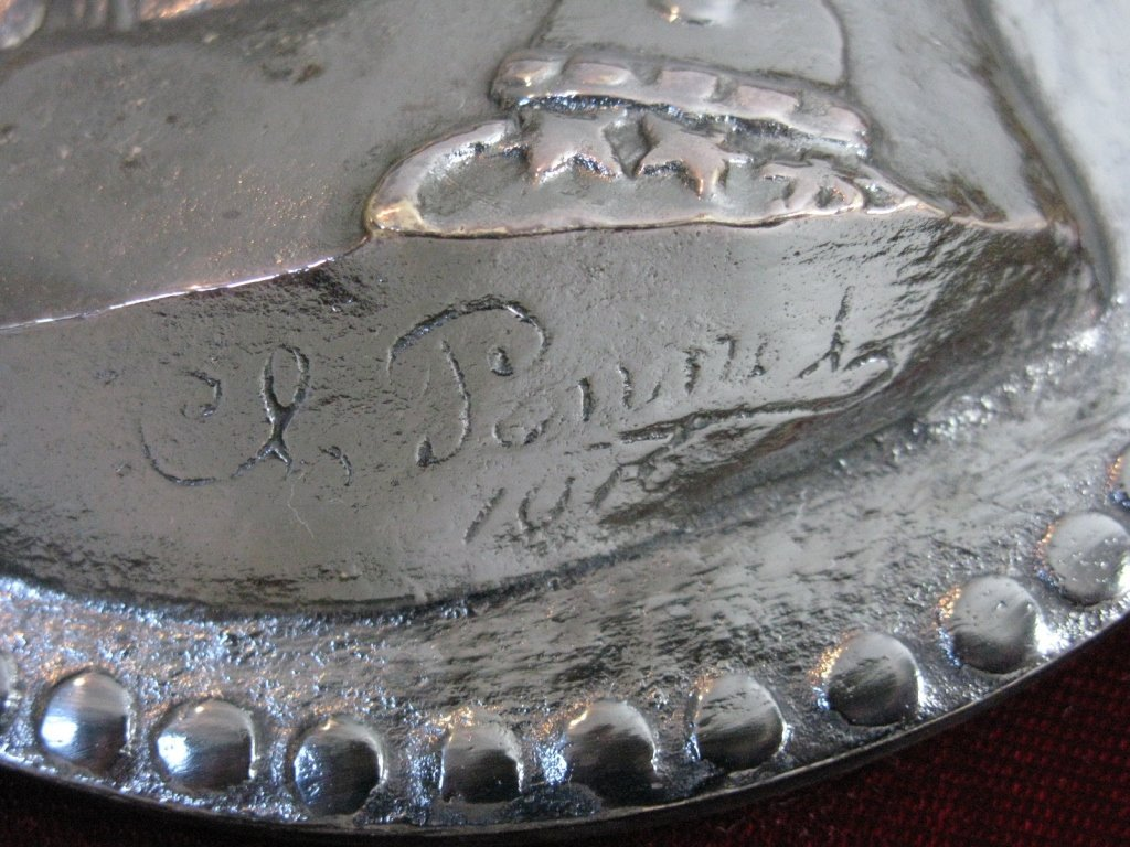 CHARLES PONNET 1916 SILVERED METAL PLAQUE - 4